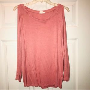 Gap Muted Pink Cold Shoulder Long Sleeve Top